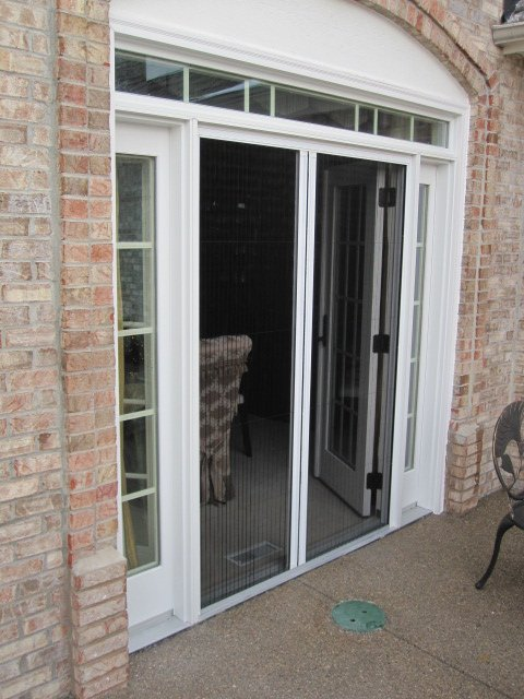 Double doors retractable screen door by screen solutions for Retractable double screen door