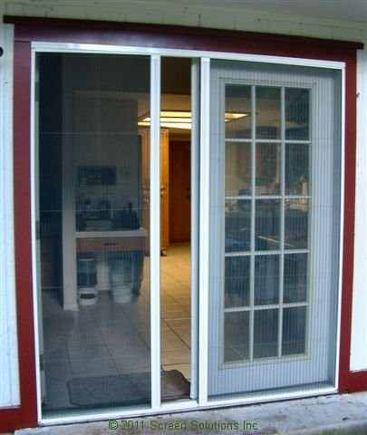 Retractable screens for french doors for Retractable screen door