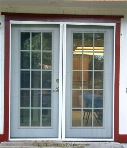 Retractable screens for french doors for Phantom door screens prices