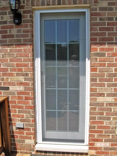 ... Single Door White Plisse Retractable Screen 3