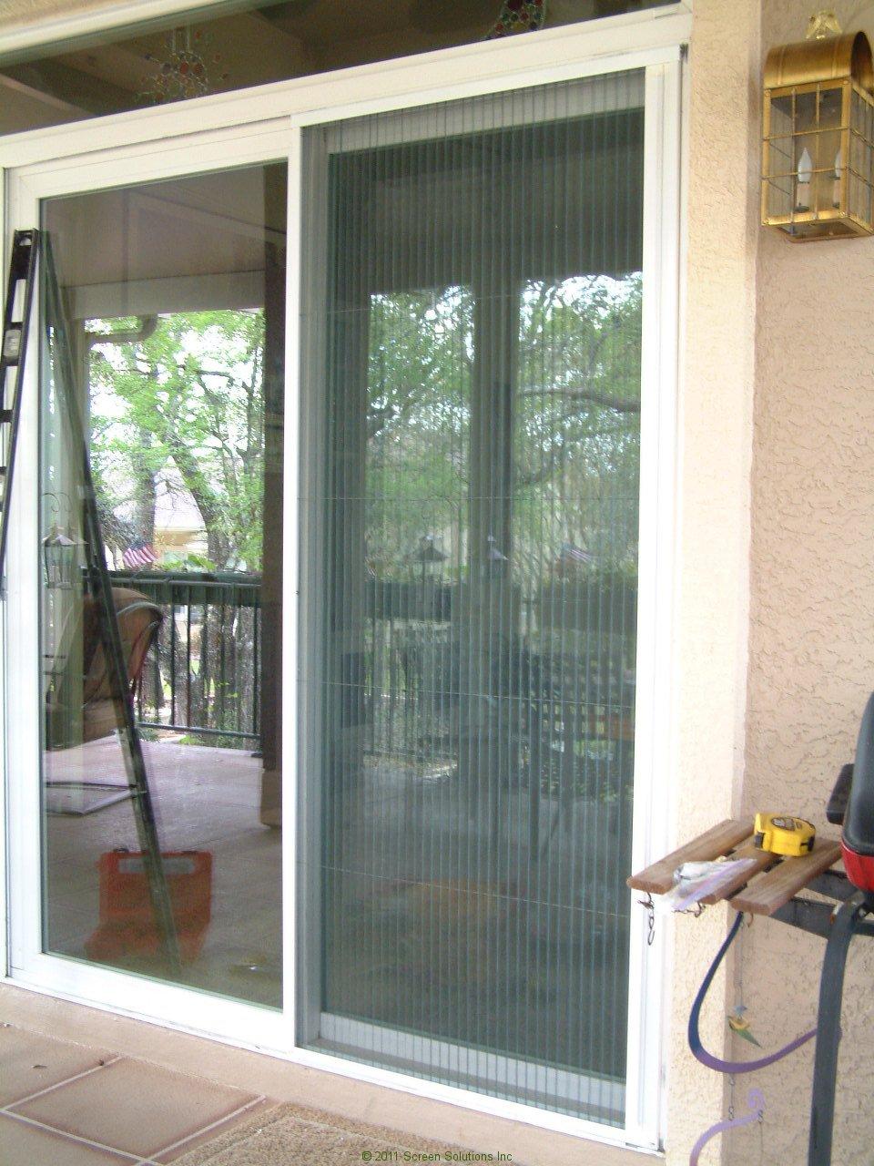 Plisse sliding glass retractable door screens for Folding screen door
