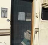Looking Into the Templeton's RV through their Plisse Retractable Door Screen