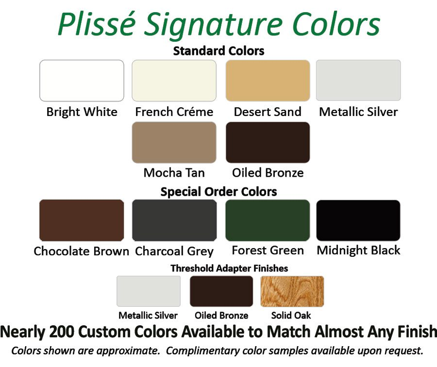 Chart showing Plisse signature retractable screen colors.