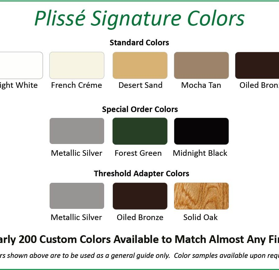 Plisse Signature Colors Chart
