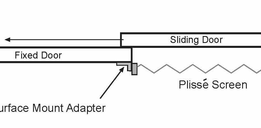 Diagram Demonstrating How to Use a Surface Mount Adapter for Installing a Plisse Retractable Screen on a Sliding Glass Door