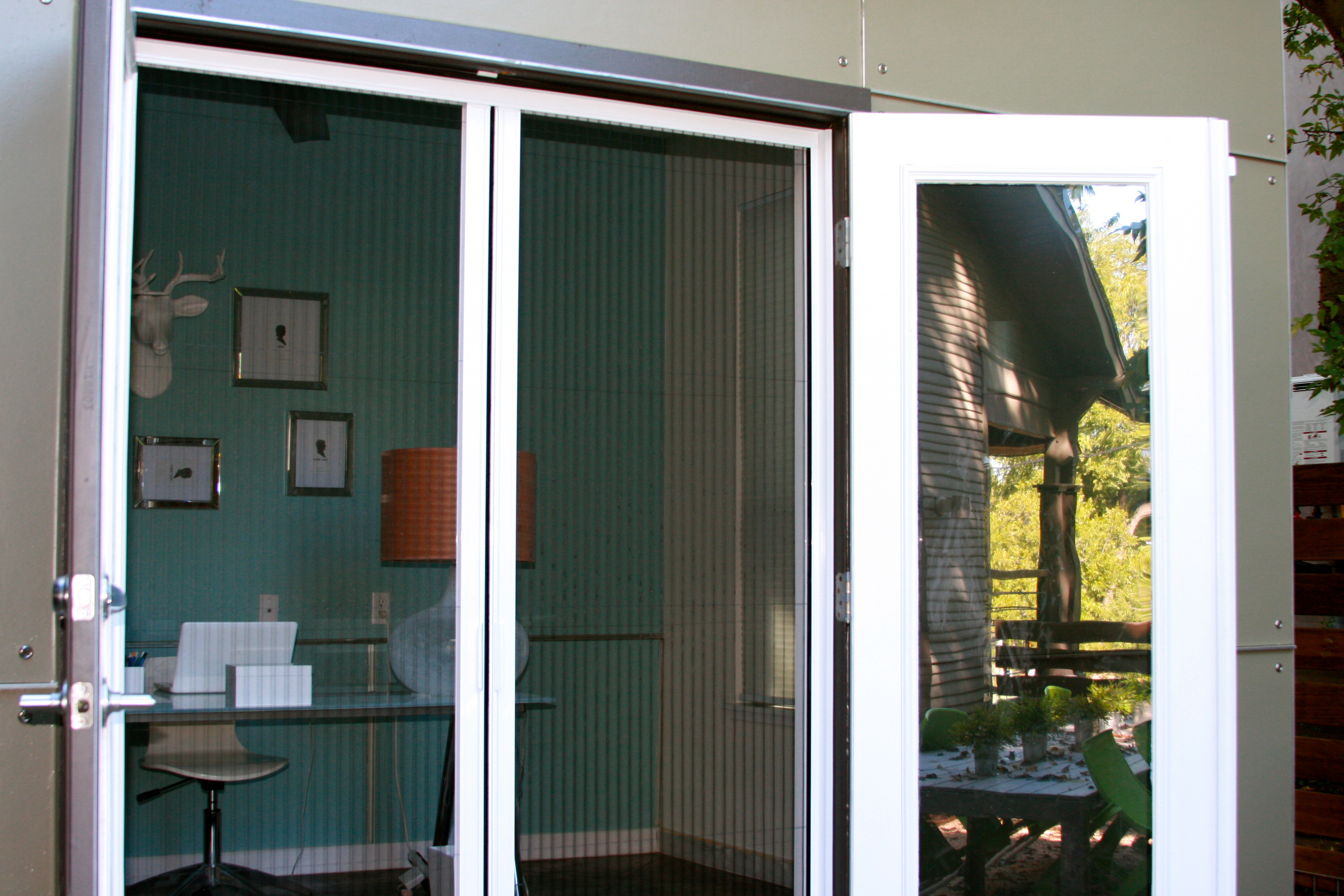 plisse double door retractable screen gallery