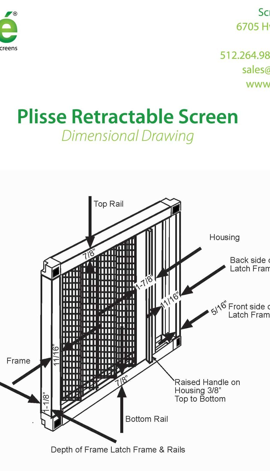 Plisse Retractable Screen Dimensional Drawing
