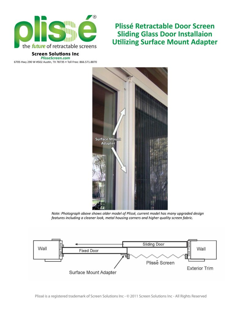 Suface Mount Photograph and Diagram Plissé Retractable Door Screen for Sliding Glass Doorways