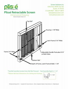 Dimensions of the Plisse style Retractable Screen by Screen Solutions