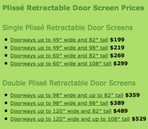 Plisse Retractable Screen Prices