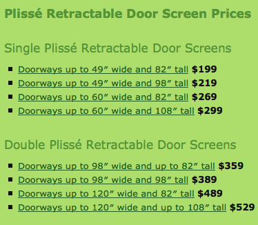 Plisse product informationretractable screen door by for Cost of retractable screens