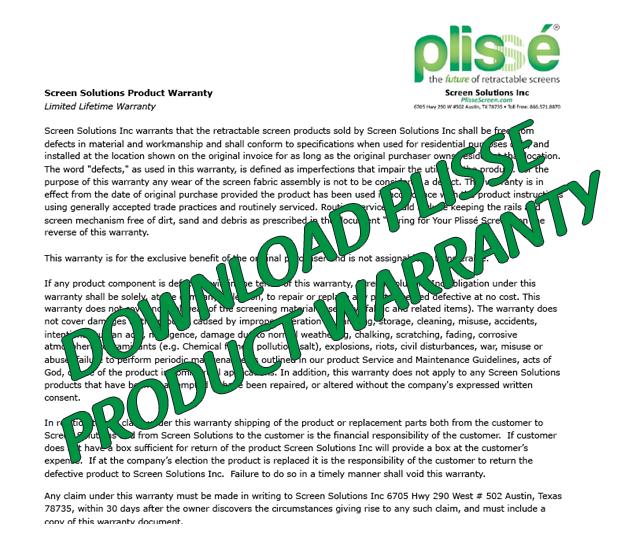 Plisse Retractable Screen Warranty-Thumbnail