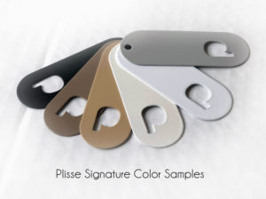 Plisse retractable screen door color samples.