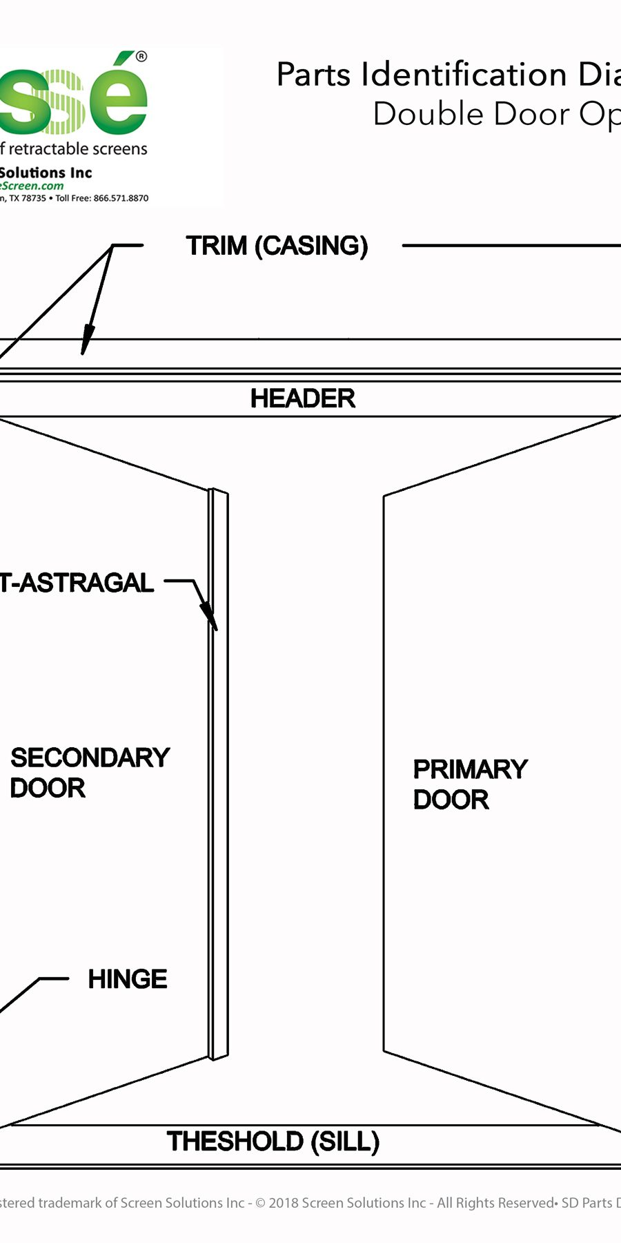 Double Door Parts Identification Drawing