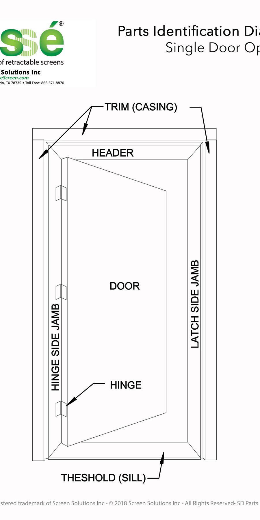 single door part identification drawing